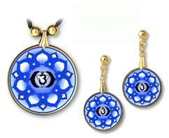 Brow (Third Eye) Chakra Sanskrit Mandala Pendant and Earrings - handcrafted by Hermit Studios