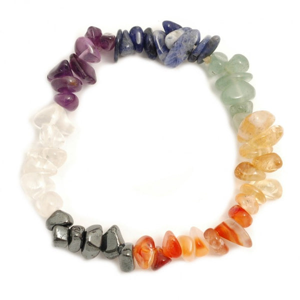 Healing Gemstone Chip Bracelets with Lava Stone Charm  - wide variety