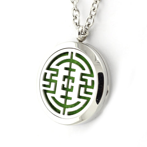 Chinese Longevity Design Aromatherapy Essential Oil Diffuser Necklace - Silver 30mm - Free Chain - Gift Idea