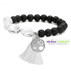 Crown Chakra Tumbled Stone and Lava Healing Stone Diffuser Bracelet