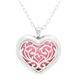 Floral Heart Design Aromatherapy Diffuser Necklace - Free Chain - Valentine's Day Gift Idea