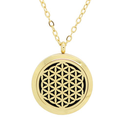 Flower of Life Design Aromatherapy Diffuser Necklace - Gold 30mm - Free Chain