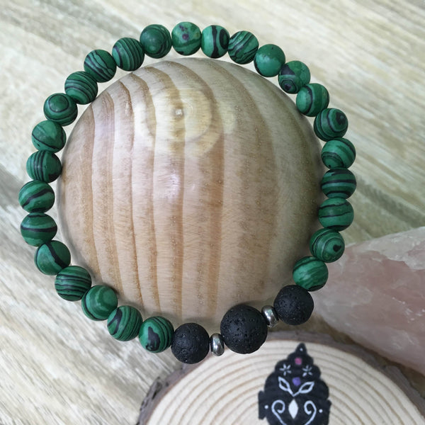 Gents Malachite and Lava Stone Aroma Diffuser Bracelet - prepare for your true love