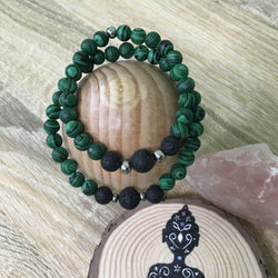 His and Hers Malachite and Lava Stone Aroma Diffuser Bracelet - stone of transformation