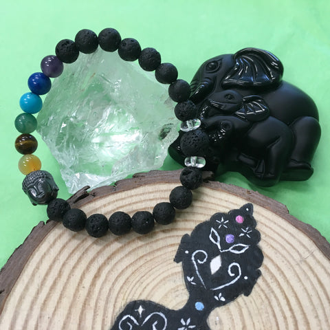 Kids 7 Chakra Hematite Buddha and Lava Stone Healing Diffuser Bracelet with Clear Crystal Quartz