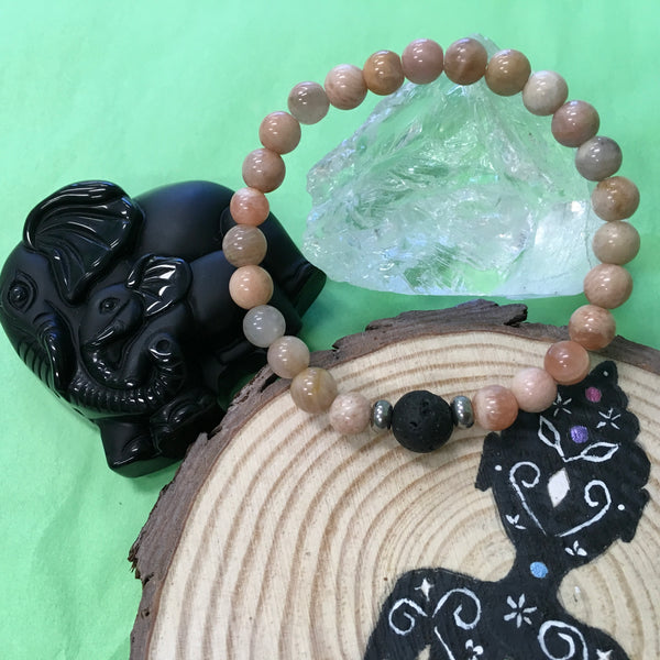 Kid's Peach Moonstone and Lava Stone Aroma Diffuser Bracelet - Strength and Stabilises the emotions - The Holistic Shop in Wagga Wagga