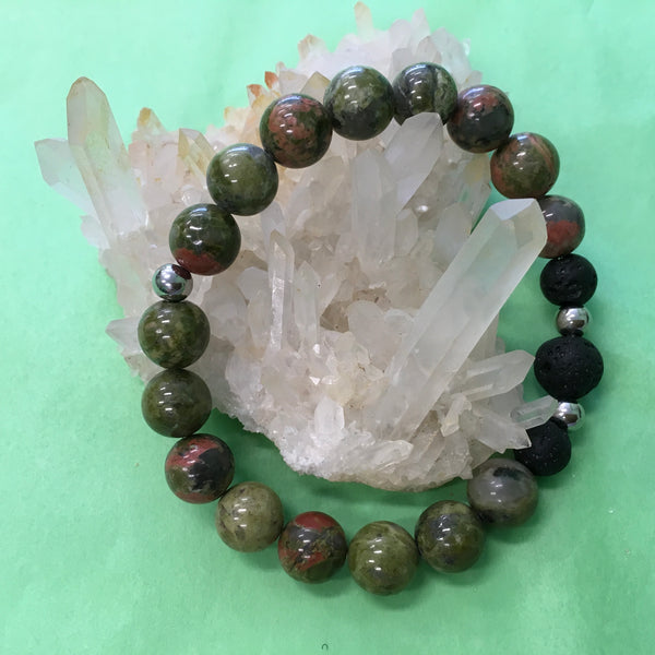 Ladies Unakite and Lava Stone Aroma Diffuser Bracelet - the stone of couples - Aromatherapy Jewellery