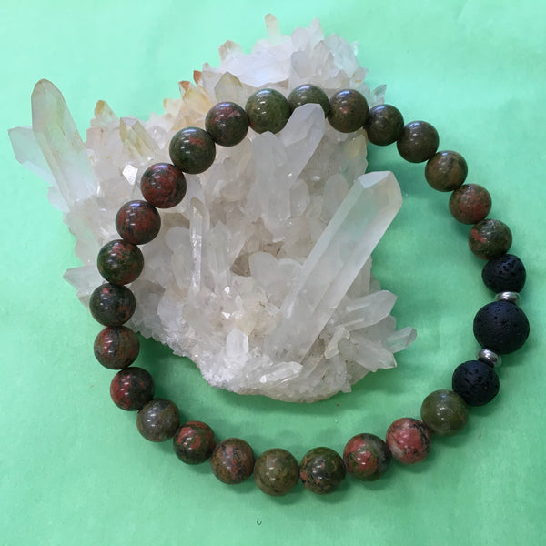 Gents Unakite and Lava Stone Aroma Diffuser Bracelet - the stone of couples - Aromatherapy Jewellery