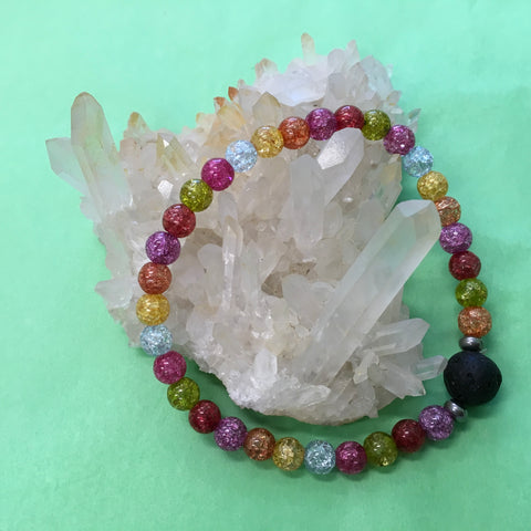 Ladies Rainbow Crackle Quartz and Lava Stone Aroma Diffuser Bracelet  - uplifting, Spiritual