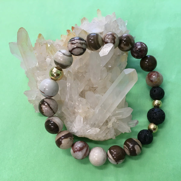 Ladies Zebra Jasper and Lava Aroma Diffuser Statement Bracelet - Aromatherapy Jewellery