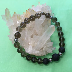 Ladies Smokey Quartz and Lava Stone Aroma Diffuser Bracelet - the stone of endurance - Aromatherapy Jewellery