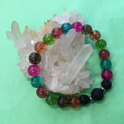 Ladies Crackle Quartz and Lava Stone Aroma Diffuser Bracelet - Rainbow Quartz - Aromatherapy Jewellery