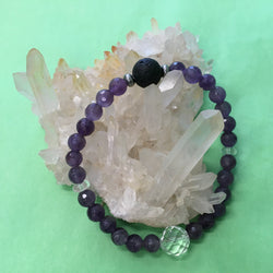 Ladies Amethyst, Clear Crystal Quartz and Lava Stone Aroma Diffuser Bracelet - the stone of spiritual growth - Aromatherapy Jewellery