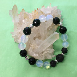 Ladies Faceted Black Onyx, Opalite and Lava Stone Aroma Diffuser Bracelet - Aromatherapy Jewellery