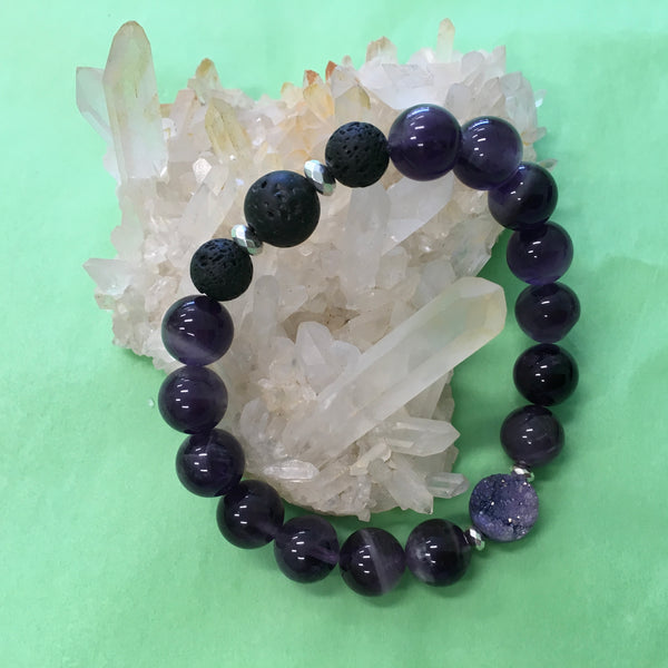Ladies Amethyst, Lilac Druzy and Lava Aroma Diffuser Bracelet - the stone of spiritual growth - Aromatherapy Jewellery