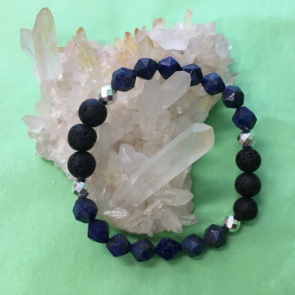 Ladies Geometric Lapis Lazuli, Hematite and Lava Aroma Diffuser Bracelet - the stone of total awareness - Aromatherapy Jewellery