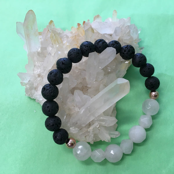 Ladies Geometric Rose Quartz and Lava Stone Aroma Diffuser Bracelet - the stone of unconditional love - Aromatherapy Jewellery