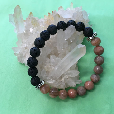 Ladies Peach Moonstone and Lava Stone Aroma Diffuser Bracelet - the feminine soothing stone