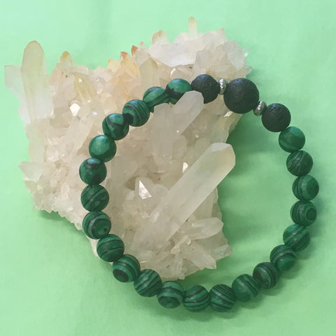 Ladies Malachite and Lava Stone Aroma Diffuser Bracelet - prepare for your true love - Aromatherapy Jewellery