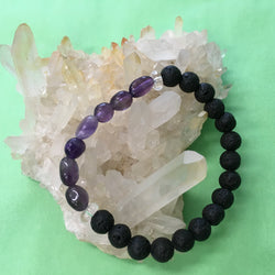 Kids Tumbled Amethyst, Clear Crystal Quartz and Lava Stone Aroma Diffuser Bracelet - Aromatherapy Jewellery