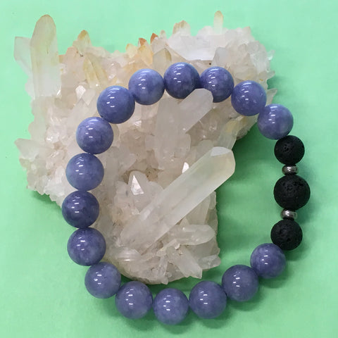 Ladies Angelite and Lava Stone Aroma Diffuser Bracelet
