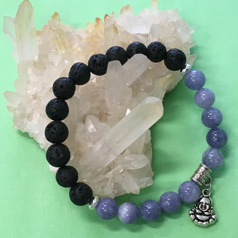 Ladies Angelite, Buddha Charm and Lava Stone Aroma Diffuser Bracelet