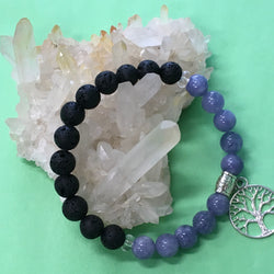 Ladies Angelite, Tree of Life Charm and Lava Stone Aroma Diffuser Bracelet - Aromatherapy Jewellery