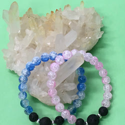 Kids Pink or Blue Crackle Quartz and Lava Stone Aroma Diffuser Bracelet