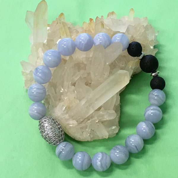 Handcrafte Ladies Blue Lace Agate and Lava Stone Aroma Diffuser Bracelet  - the emotional healing stone - Aromatherapy Jewellery Australia