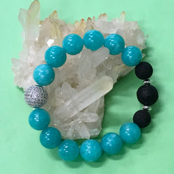 Handmade Ladies Blue Aventurine and Lava Stone Aroma Diffuser Bracelet  - the leadership stone - Aromatherapy Jewellery Australia