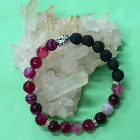 Pink or Purple Agate Buddha and Lava Healing Stone Diffuser Bracelet - Grounding