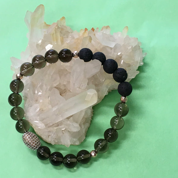 Ladies Smokey Quartz, Pave Crystal and Lava Stone Aroma Diffuser Bracelet