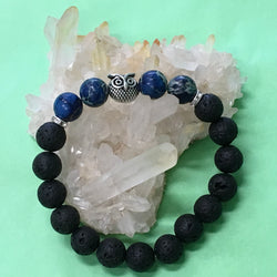 Sea Sediment Jasper Gemstone, Owl and Lava Healing Aroma Diffuser Bracelets - 5 Colours