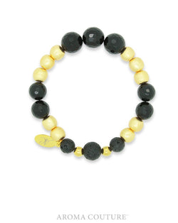 Black Onyx and Gold Statement Lava Diffuser Bracelet - Aroma Couture™