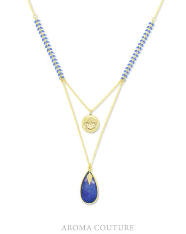 "Ella Blue Lapis Diffuser Necklace 32"" by Aroma Couture"