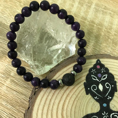 Kid's Charoite and Lava Stone Aroma Diffuser Bracelet - Transformation, Insight and Spirituality