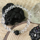 Kid's Clear Crystal Quartz and Lava Stone Aroma Diffuser Bracelet