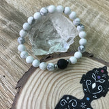 Kid's Howlite and Lava Stone Aroma Diffuser Bracelet - Calming, Awareness and Spiritual