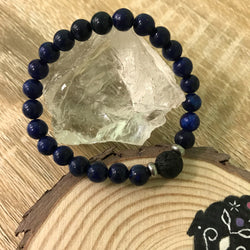 Kid's Lapis Lazuli and Lava Stone Aroma Diffuser Bracelet - Communication, Intuition and Inner Power