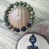 His and Hers Unakite and Lava Stone Aroma Diffuser Bracelet - the stone of couples