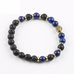 Lapis Lazuli Buddha and Lava Diffuser Bracelet  - Antique Gold Plate