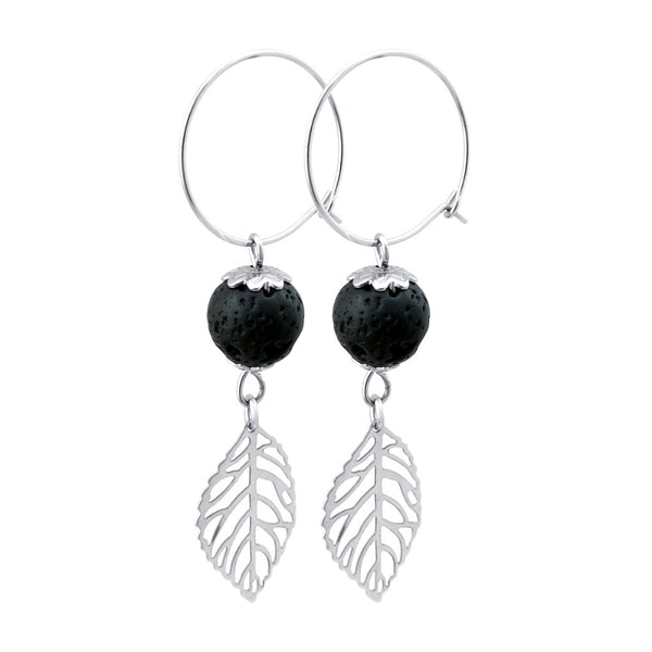 Lava Stone Aromatherapy Diffuser Drop Earrings - Leaf Design
