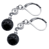Lava Stone Aromatherapy Diffuser Drop Earrings - Clear Crystal