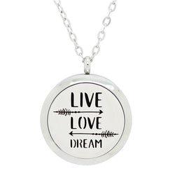 Live, Love and Dream Design Aromatherapy Diffuser Necklace - Free Chain