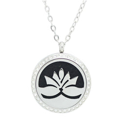 Lotus Flower Design with Crystals Aromatherapy Diffuser Necklace - Free Chain