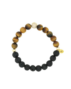 Womans Matte Tiger's Eye and Lava Diffuser Bracelet- Aroma Couture