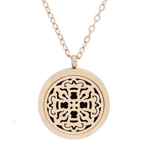 Old World Cross Design Aromatherapy Essential Oil Diffuser Necklace - Rose Gold 30mm - Gift Idea