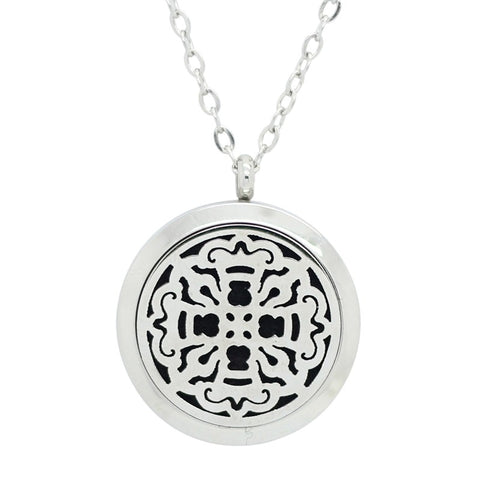 Old World Cross Design Aromatherapy Essential Oil Diffuser Necklace - Silver 25mm - Gift Idea