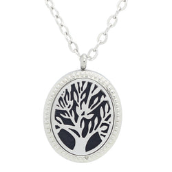 Tree of Life Oval Design Aromatherapy Diffuser Necklace - Free Chain