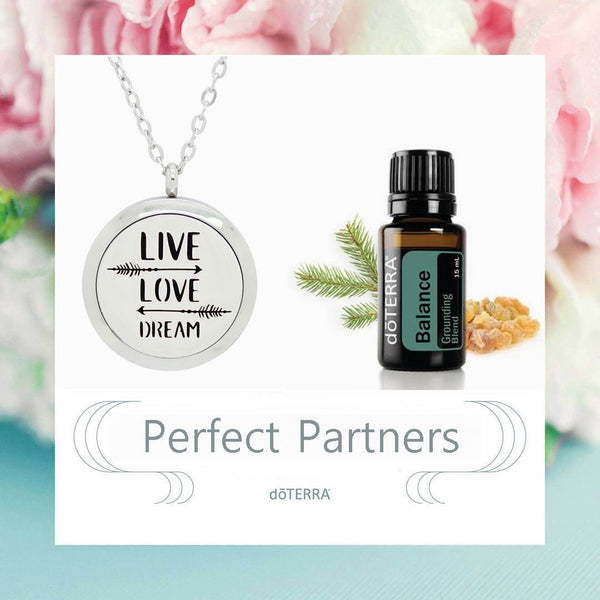doTERRA Balance Live, Love and Dream Design Aromatherapy Diffuser Necklace - Gift Box